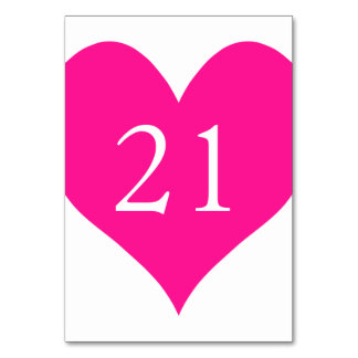 Cute Deep Pink Numbered Heart Table Cards