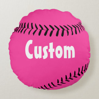 Cute Deep Pink Round Fastpitch Softball Pillow