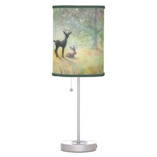 Cute Deer and Rabbit Fantasy Wildlife Art Table Lamp