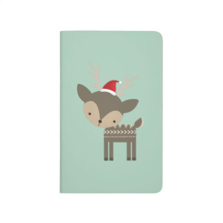 Cute Deer In Red Santa Hat Journals