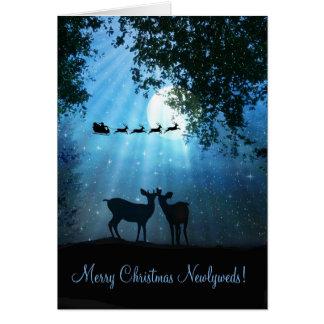 Cute Deer in the Moonlight Newlywed Xmas Card