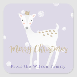 Cute Deer  | Lilac Personalized Christmas Sticker