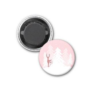 Cute Deer Pink Winter Wonderland Magnet