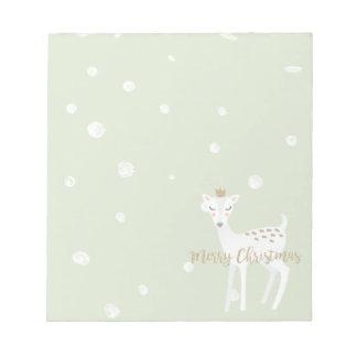 Cute Deer | Sage Green | Christmas Notepad