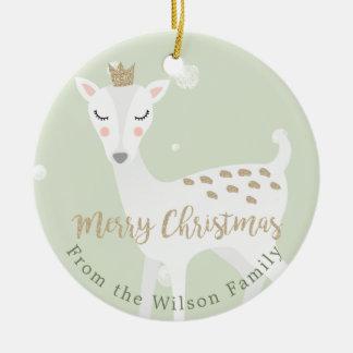 Cute Deer | Sage Green | Personalized Christmas Ceramic Ornament