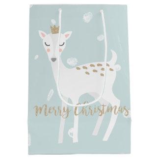 Cute Deer | Soft Blue | Christmas Gift Bag