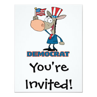 cute democratic donkey cartoon character card