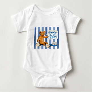 Cute Dental Bear - Blue Stripes Baby Bodysuit