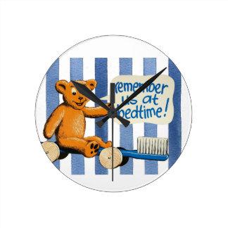 Cute Dental Bear - Blue Stripes Clock