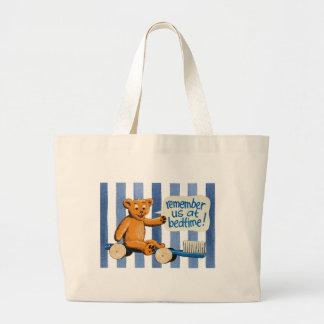 Cute Dental Bear - Blue Stripes Large Tote Bag