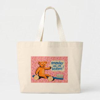 Cute Dental Bear - Pink Polka Dots Large Tote Bag