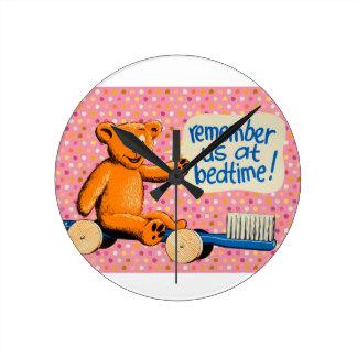 Cute Dental Bear - Pink Polka Dots Wall Clocks