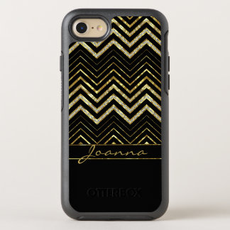 Cute Diamonds And Gold Chevron OtterBox Symmetry iPhone 8/7 Case