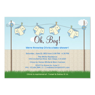 Cute Diaper Clothesline Baby Boy Baby Shower Card