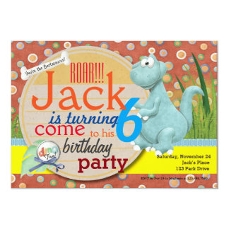 Cute Dino Digital Birthday Party Invitation No 1