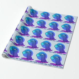cute dino kid funny cartoon wrapping paper