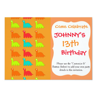 Cute Dino Pattern Walking Dinosaurs Card