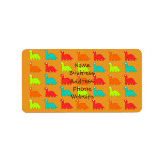 Cute Dino Pattern Walking Dinosaurs Address Label