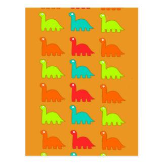 Cute Dino Pattern Walking Dinosaurs Postcard