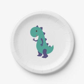 Cute Dino Plate 7 Inch Paper Plate