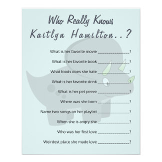 Cute Dinosaur   Baby Shower Question Game Humor Flyer