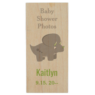 Cute Dinosaur | Baby Shower To Honor the New Mom Wood USB Flash Drive