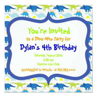 Cute Dinosaur Birthday Party Invitation Templates