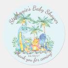 Cute Dinosaur Boys Baby Shower Favour Sticker