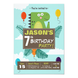 Cute Dinosaur Kids Birthday Party Invitation