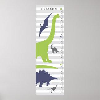 Cute Dinosaur Nursery Growth Chart - Dino Decor Poster