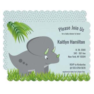 Cute Dinosaur   Palm Trees New Mom Baby Shower Card