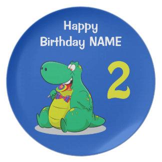 Cute Dinosaur Personalized Happy Birthday Plate