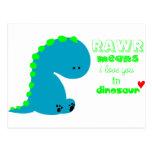 Cute Dinosaur RAWR Post Card