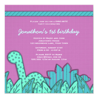 Cute Dinosaur Theme Birthday Party - Turquoise Card