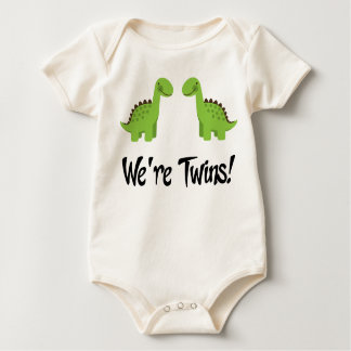 Cute Dinosaur Twins Gift Baby Bodysuit