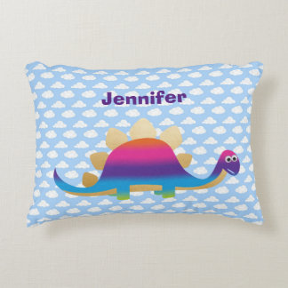Cute Dinosaur with Clouds on Blue Sky Accent Pillow