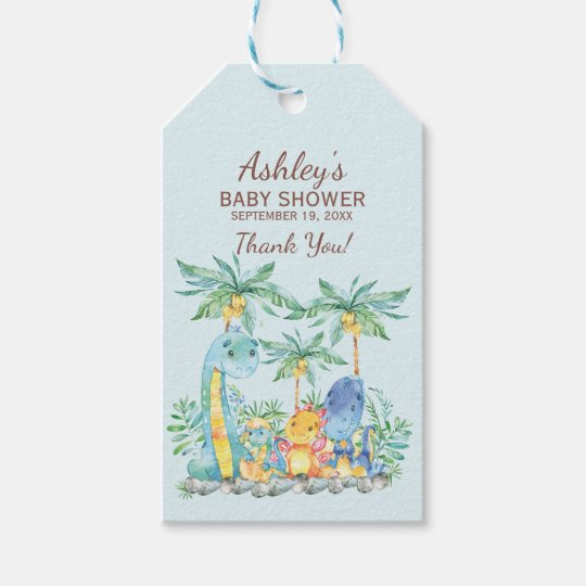 Cute Dinosaurs  Baby Shower Favour Gift Tag