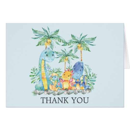 Cute Dinosaurs Baby Shower Thank You Note Card