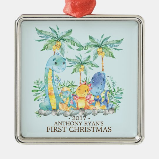 Cute Dinosaurs Baby's First Christmas Ornament