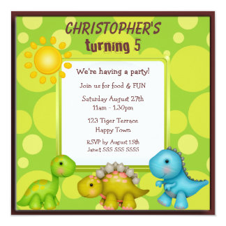 Cute Dinosaurs Birthday Party Card