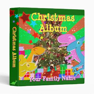 Cute Dinosaurs by the Christmas Tree Family Album Vinyl Binders