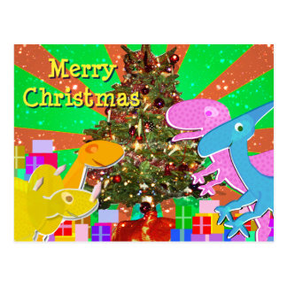 Cute Dinosaurs by the Christmas Tree Postcard