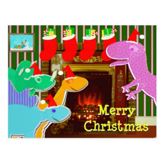 Cute Dinosaurs by the Fireplace Christmas Postcard