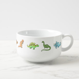 Cute Dinosaurs Illustrated Colorful Art Soup Bowl With Handle