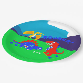 Cute dinosaurs paper plate