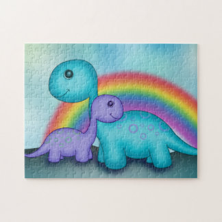 Cute Dinosaurs with Colourful Rainbow Jigsaw Puzzle