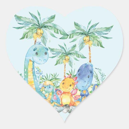 Cute Dinousaurs Baby Shower Favour Sticker