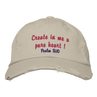 Cute distressed hat for ladies pure heart verse! embroidered baseball cap