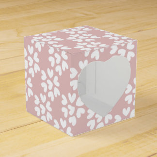 Cute Ditsy Love Hearts Pink and White Wedding Wedding Favor Box