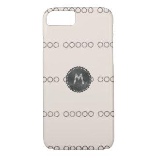 Cute Divine Beige Cream Brown Monogrammed iPhone 7 Case